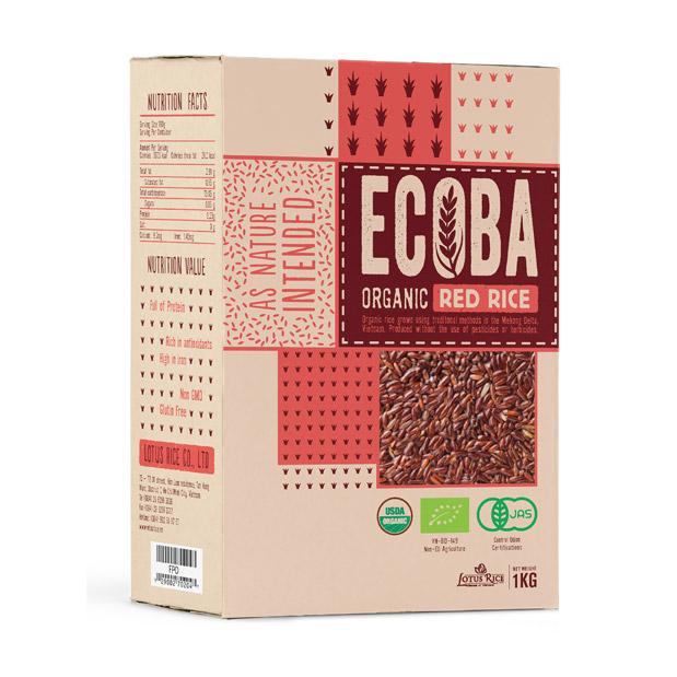 Gạo lứt đỏ hữu cơ ECOBA 1kg – CON NGỖNG VÀNG