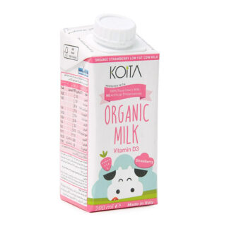 Sữa bò hữu cơ Koita Milk vị dâu ít béo 200ml