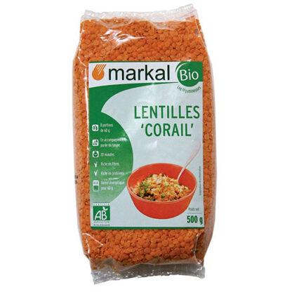 Đậu lăng đỏ cam san hô Markal 500g