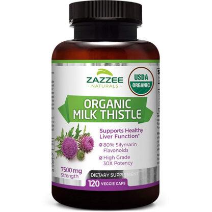 Viên thải độc gan Zazzee Naturals chiết xuất hoa kế sữa hữu cơ (120 viên)