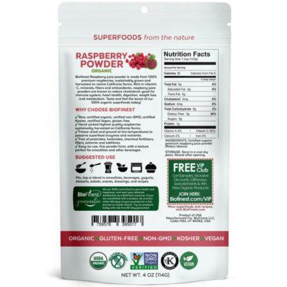Bột phúc bồn tử đỏ (raspberry) hữu cơ BioFinest 114g