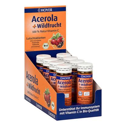 Viên ngậm vitamin C hữu cơ HOYER Acerola + Wildfrucht (60 viên)